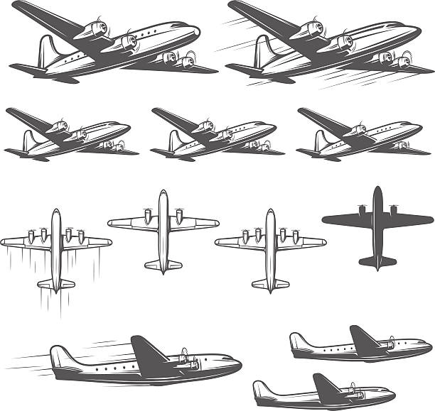 Vintage airplanes from different angles Vintage airplanes from different angles. private airplane stock illustrations