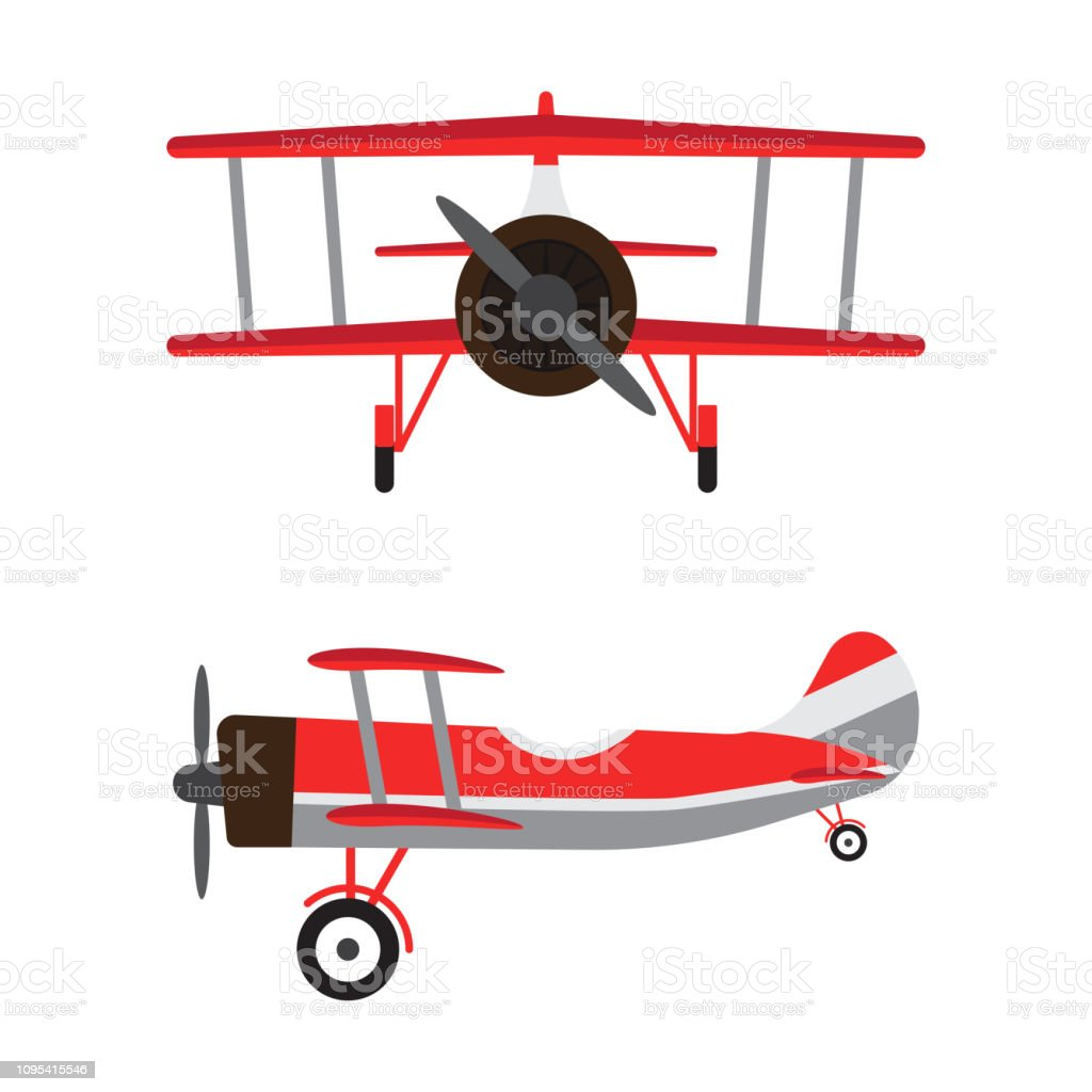Vintage airplanes or retro aircrafts cartoon models isolated on white background vector art illustration