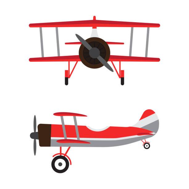 빈티지 비행기 또는 복고풍 항공기 모델 흰색 배경에 고립 된 만화 - 복엽기 stock illustrations