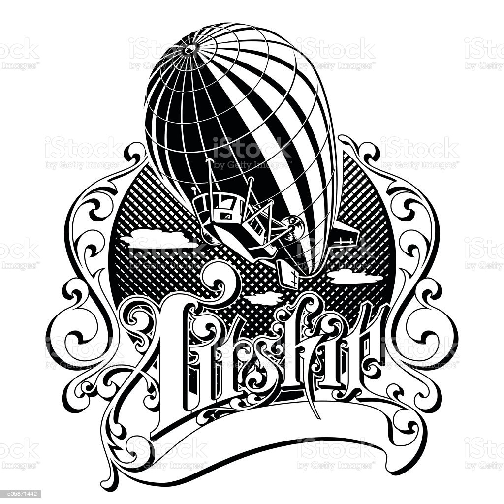 vintage airship in the box with the word vector illustration vector art illustration