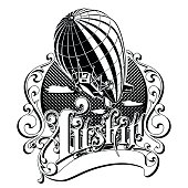 vintage airship in the box with the word vector illustration