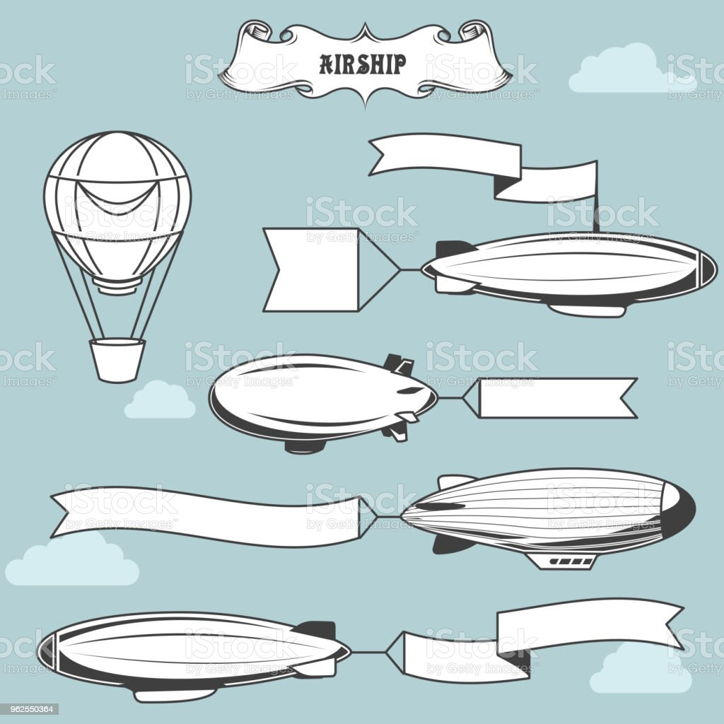 Vintage airships with greetings banner - dirigibles with advertising strip, old zeppelin - Royalty-free Adventure stock vector