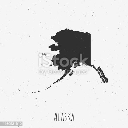 Black and white Alaska map in trendy vintage style, isolated on a dusty white background. A grunge texture is used to have a retro and worn effect. His name is written on the bottom of the image. Vector Illustration (EPS10, well layered and grouped). Easy to edit, manipulate, resize or colorize.