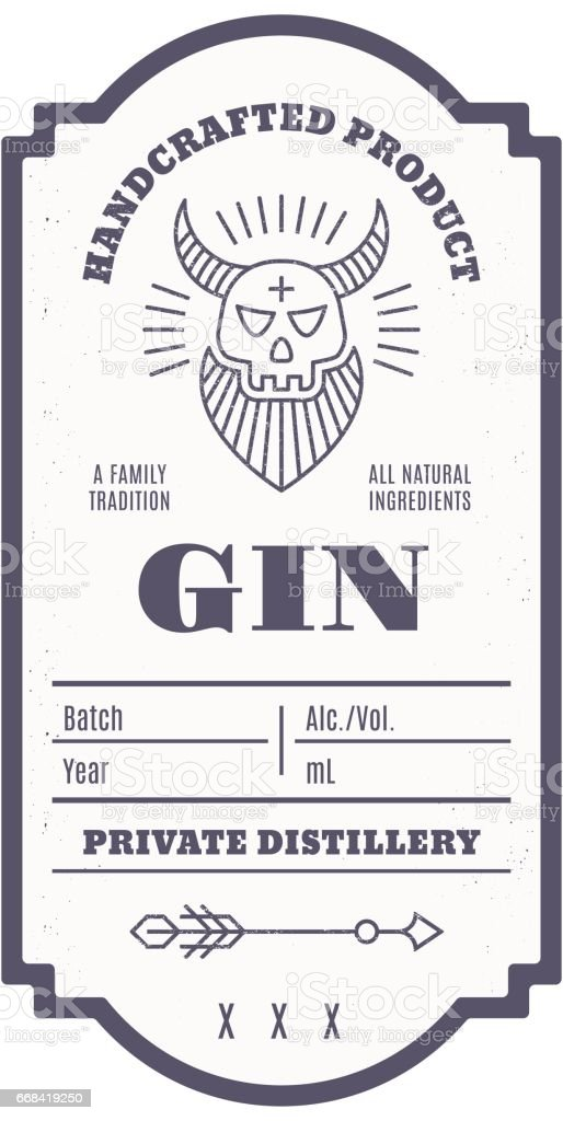 Vintage alcohol drink label design with ethnic elements in thin line style. vector art illustration