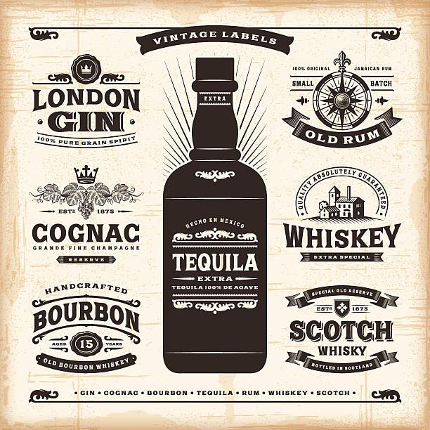 Vintage alcohol labels collection A set of fully editable vintage alcohol labels in woodcut style. EPS10 vector illustration. Includes high resolution JPG. obsolete stock illustrations