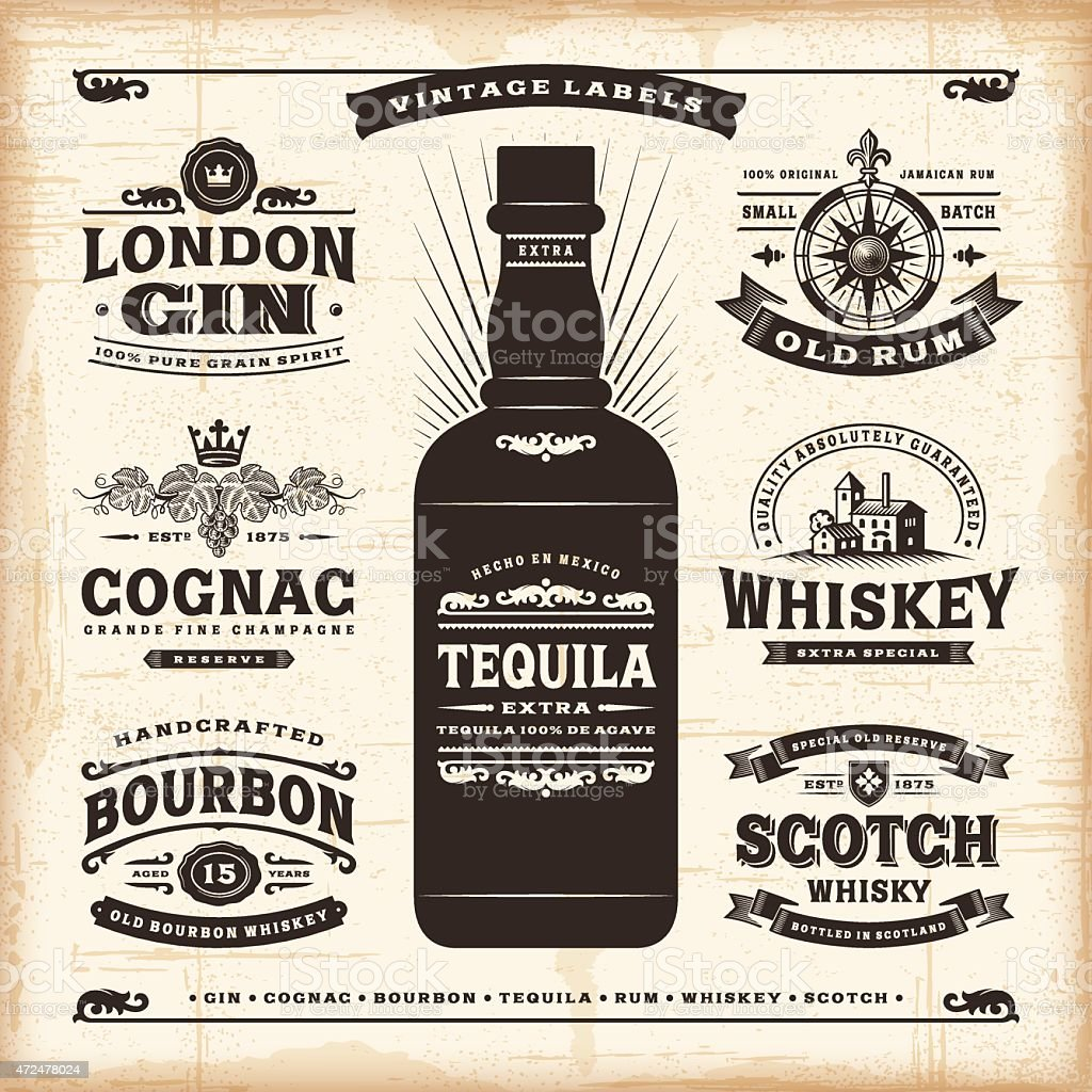 Vintage alcohol labels collection vector art illustration