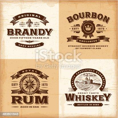istock Vintage alcohol labels set 483801843