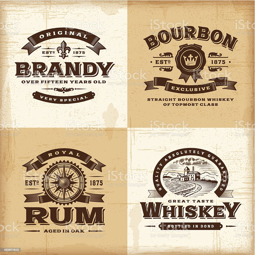 Vintage alcohol labels set vector art illustration