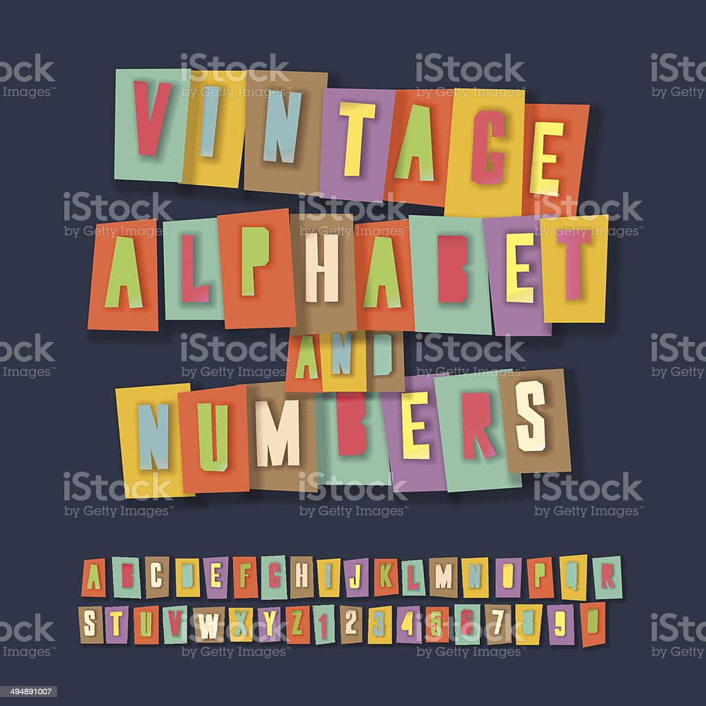 Vintage alphabet and numbers, collage paper craft design vector art illustration