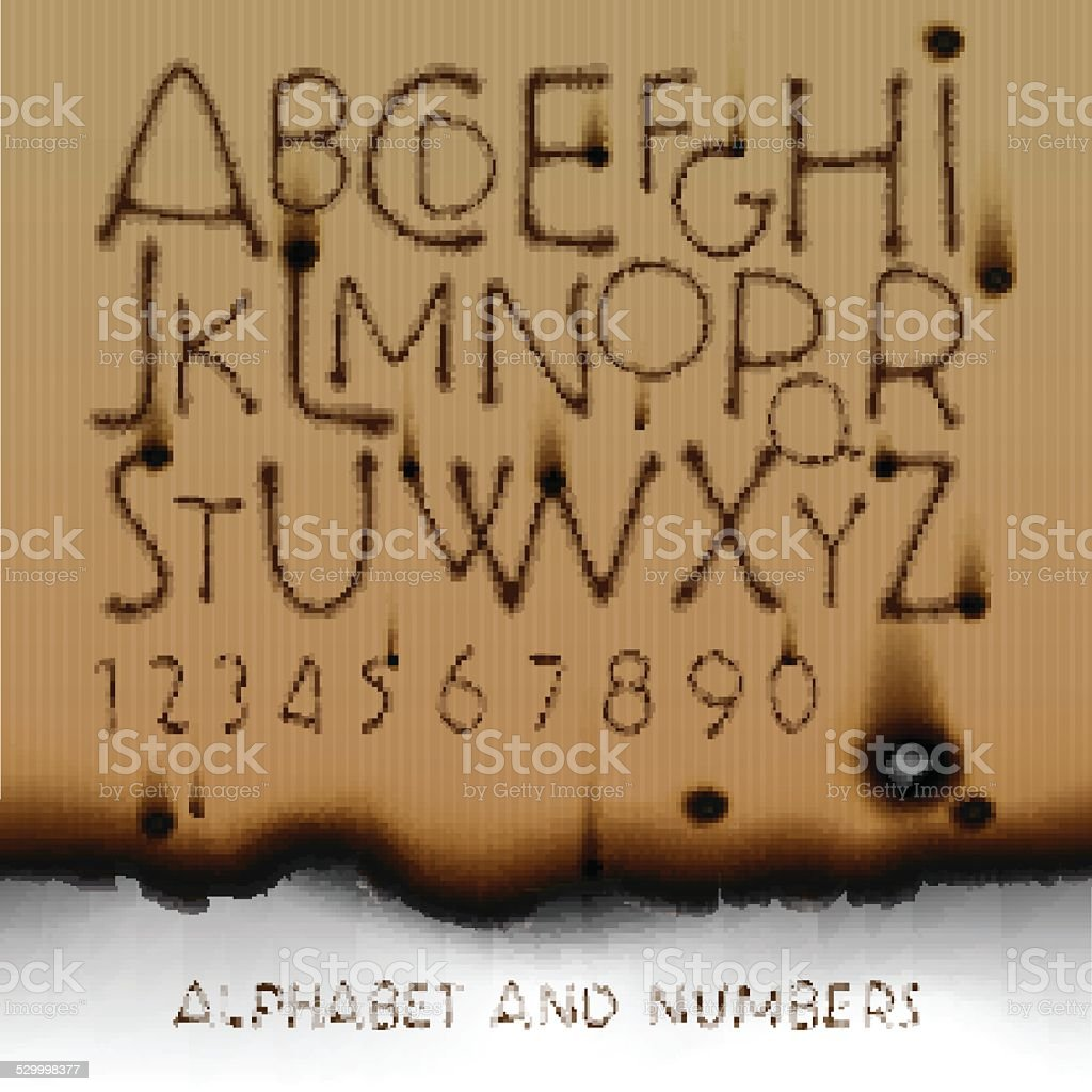 Vintage alphabet and numbers on burned out paper background vector art illustration