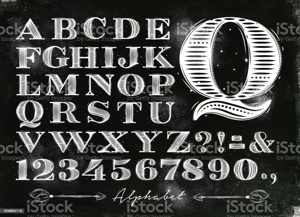 Vintage alphabet chalk vector art illustration
