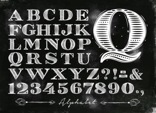 stockillustraties, clipart, cartoons en iconen met vintage alphabet chalk - bord bericht