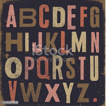 Vector vintage letters on textured dark background