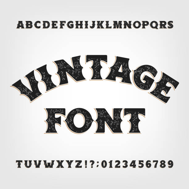Vintage alphabet font. Messy retro letters and numbers in Wild West style. Vintage alphabet font. Messy retro letters and numbers in Wild West style on bright background. Vector typescript for your design. wild west stock illustrations