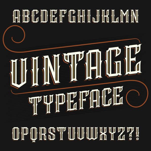 vintage alphabet font. ornate decorative in retro style. - tattoo fonts stock illustrations
