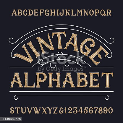 Vintage alphabet font. Ornate messy letters and numbers in retro style. Stock vector typescript for your typography design.