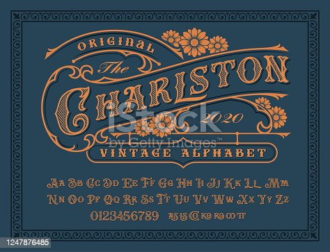 istock A Vintage alphabet for label designs 1247876485