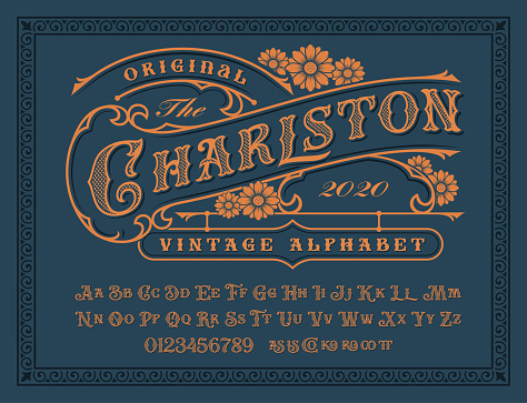 A Vintage alphabet with upper and lower case, numbers, and special ligatures as well. It is perfect for logo and packaging and lable designs, short phrases, or headlines.