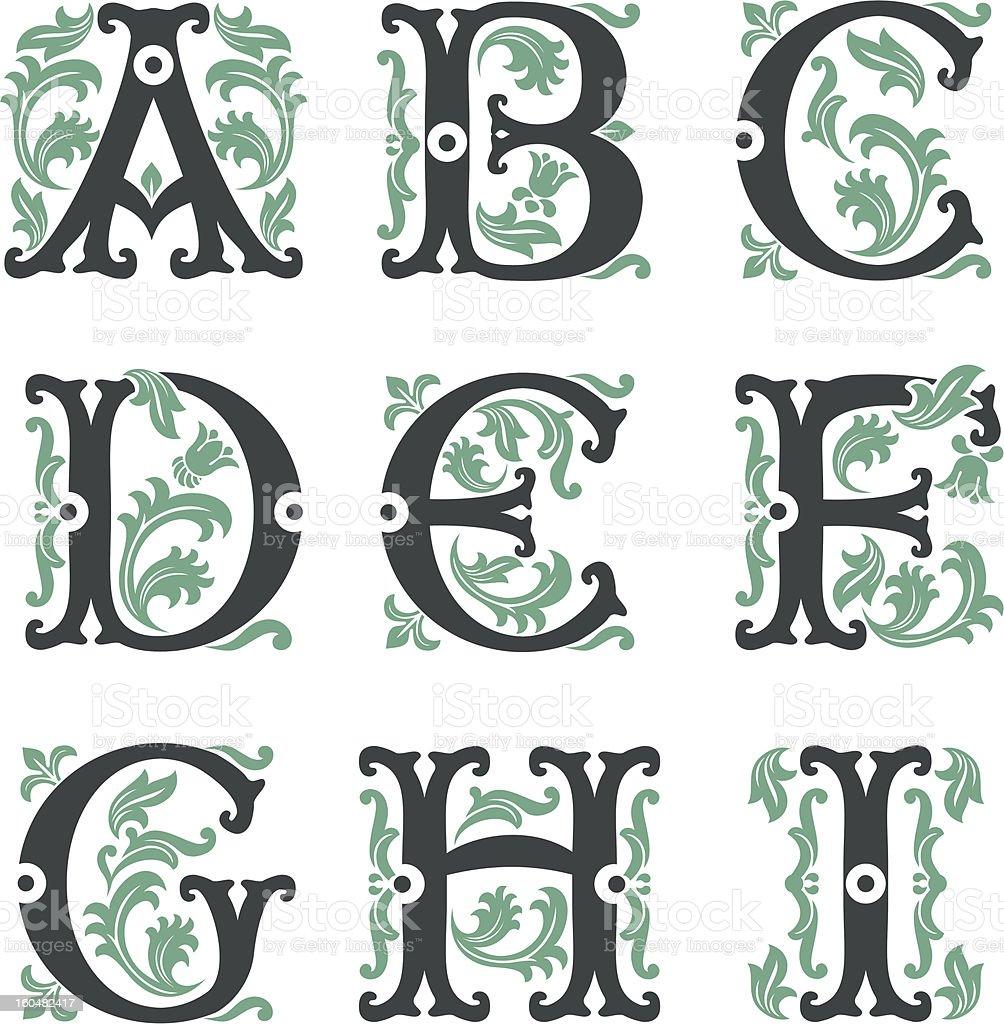 vintage alphabet. Part 1 royalty-free stock vector art