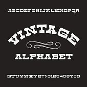 Vintage alphabet. Retro slab serif letters and numbers