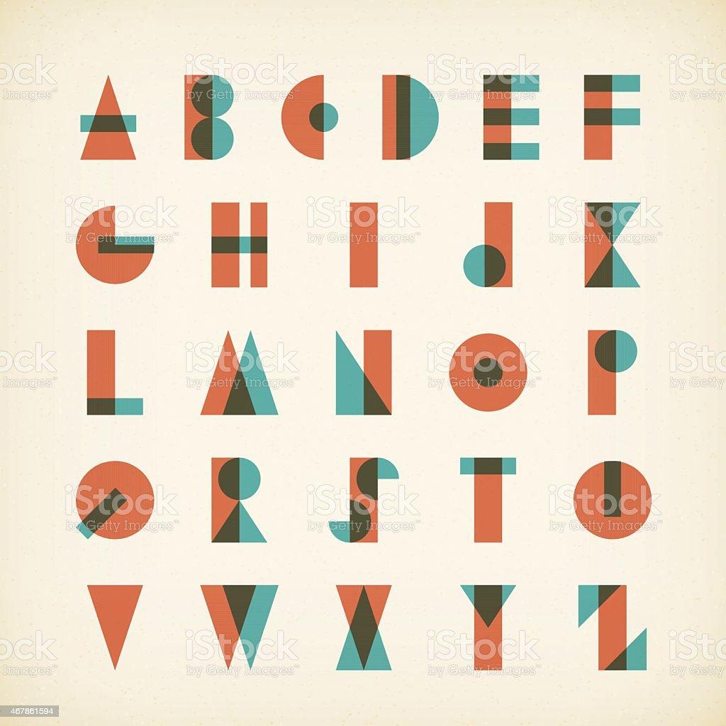 vintage alphabet typography font on textured paper vector art illustration