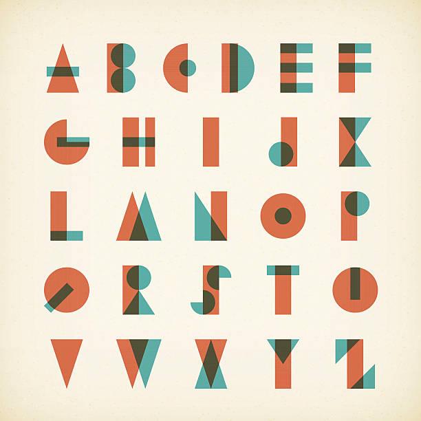 vintage alphabet typography font on textured paper vintage alphabet typography font on textured paper. vector design. silk screen stock illustrations