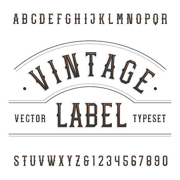 Vintage alphabet vector font in western style. vector art illustration