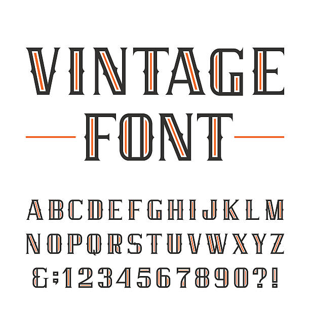 Vintage alphabet vector font. vector art illustration