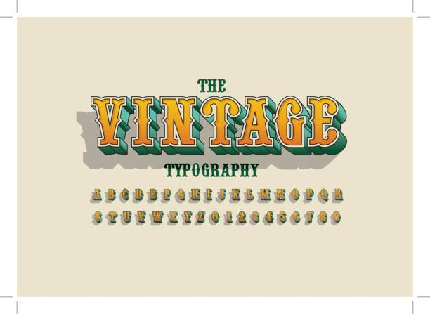 vintage alphabet vector art illustration