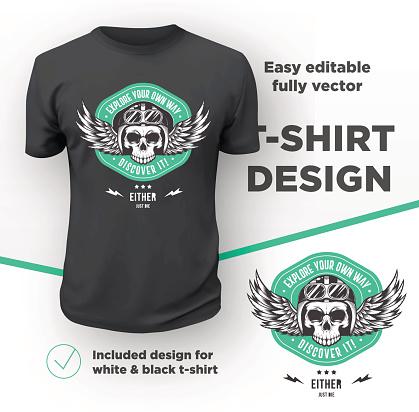 Vintage American bikers club print design isolated on black t-shirt mockup.