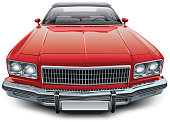 High quality vector image of vintage American coupe convertible, isolated on white background. File contains gradients, blends and transparency. No strokes. Easily edit: file is divided into logical layers and groups.