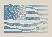 Engraving illustration of a Vintage American flag design element