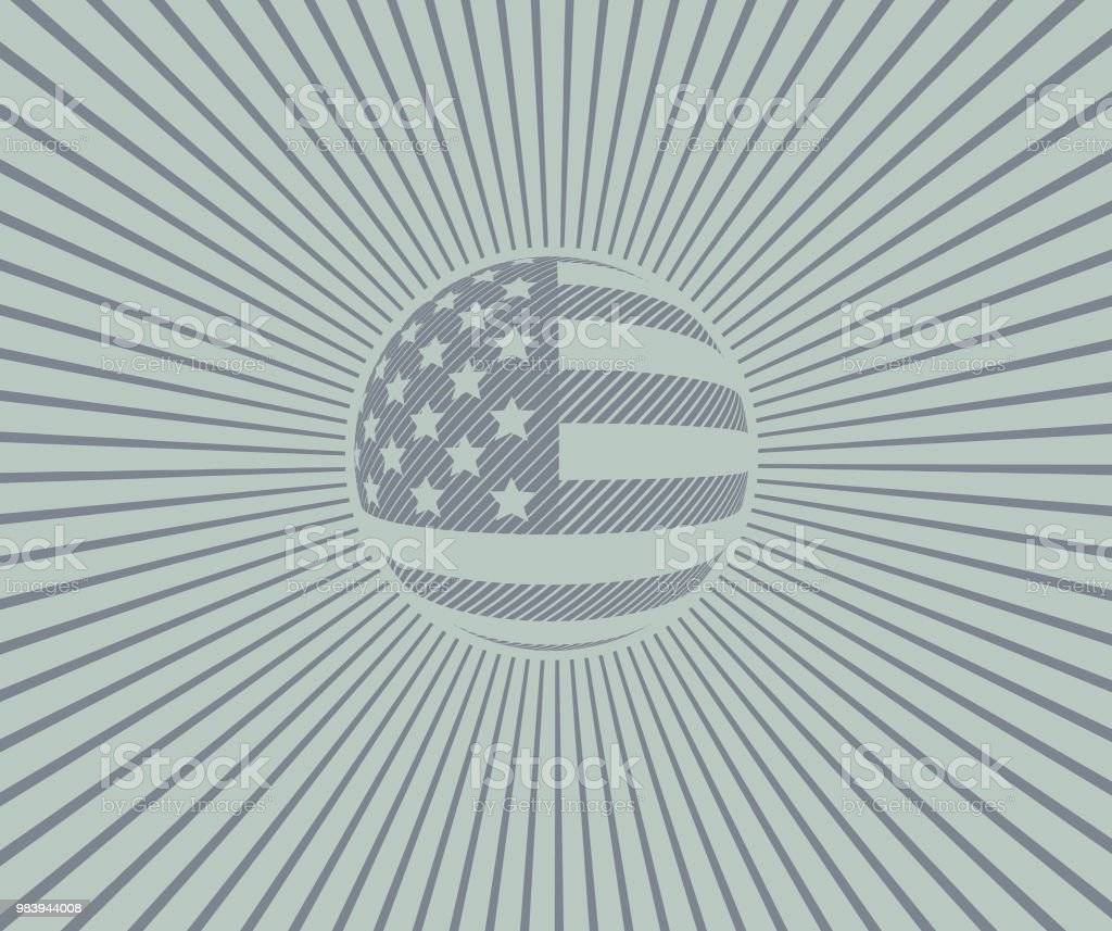 Vintage American Flag with sunbeams