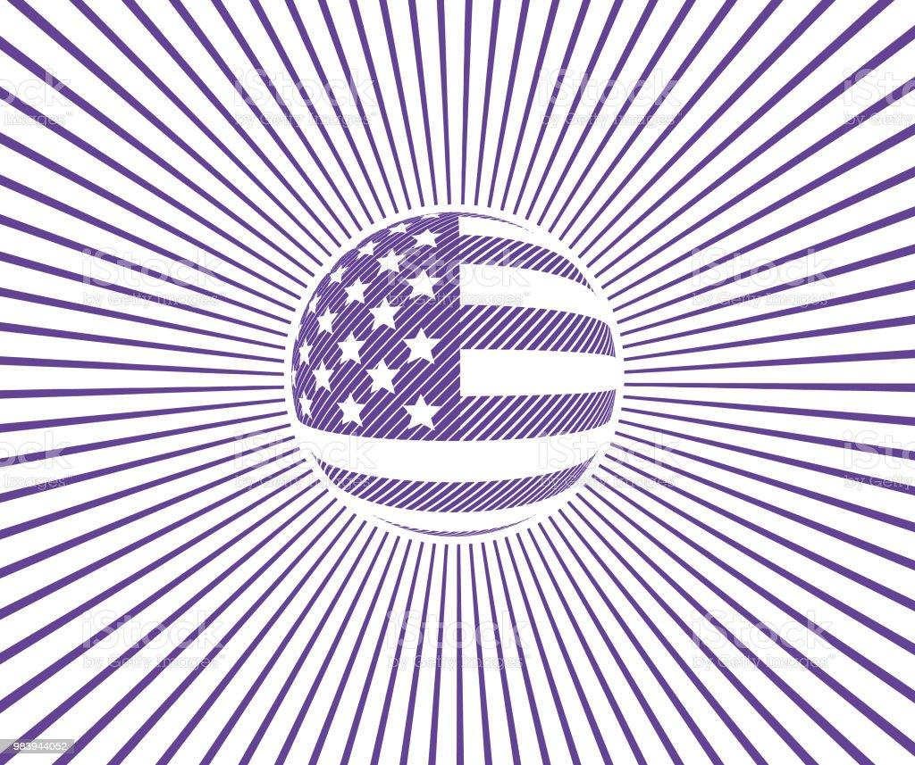 Vintage American Flag With Sunbeams Royalty Free Stock Vector Art