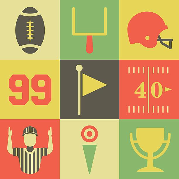 ilustrações de stock, clip art, desenhos animados e ícones de vintage ícones de futebol americano - primeiro down futebol americano