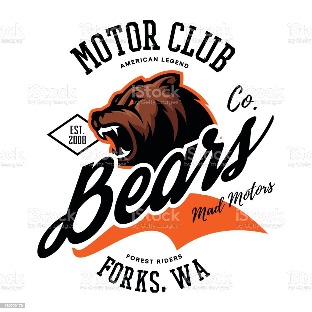 Vintage American furious bear bikers club tee print vector design. vector art illustration