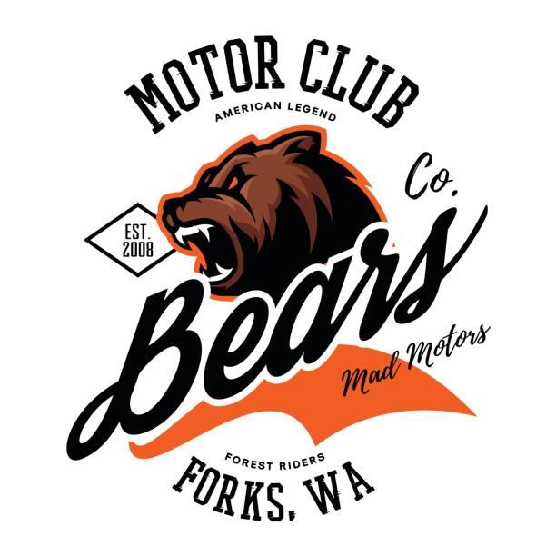 Vintage American furious bear bikers club tee print vector design. vector art illustration