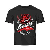 Vintage American furious boar bikers club tee print vector design isolated on black t-shirt mockup.