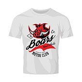 Vintage American furious boar bikers club tee print vector design isolated on white t-shirt mockup.