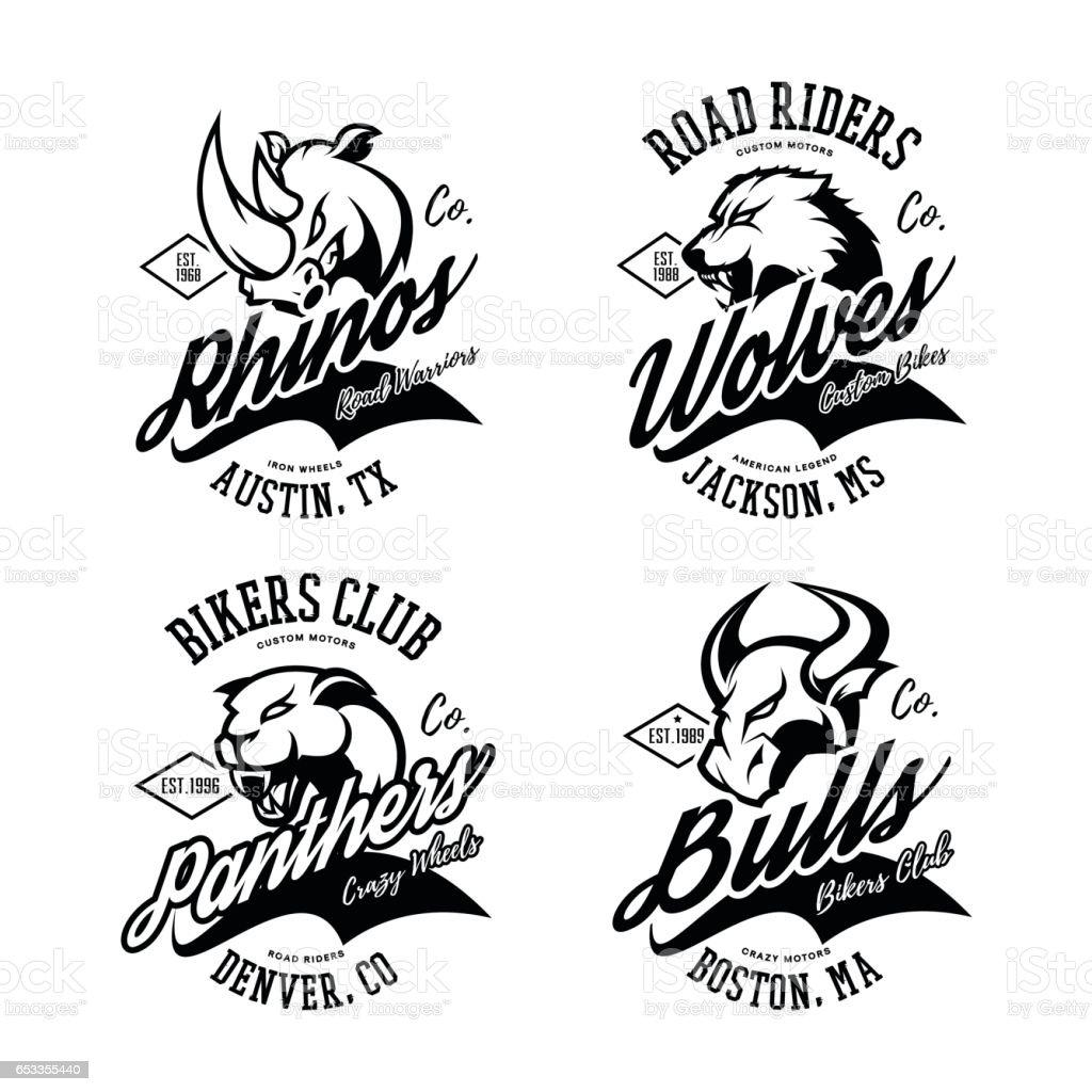 Vintage American furious bull, wolf, panther, rhino bikers club tee print vector design. vector art illustration