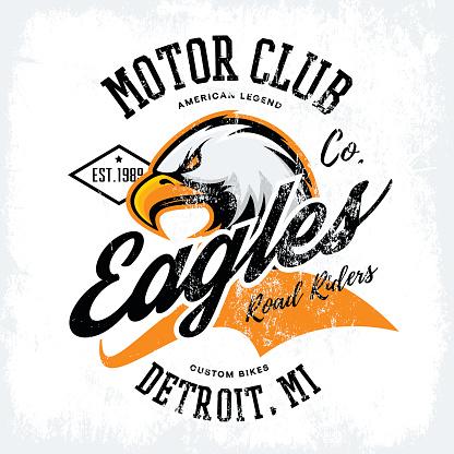 Vintage American furious eagle custom bike motor club tee print vector design isolated on white background