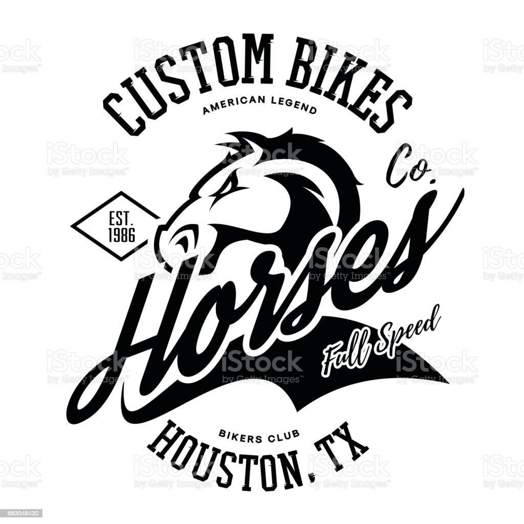 Vintage American furious horse bikers club tee print vector design. royalty-free vintage american furious horse bikers club tee print vector design stock vector art & more images of american culture