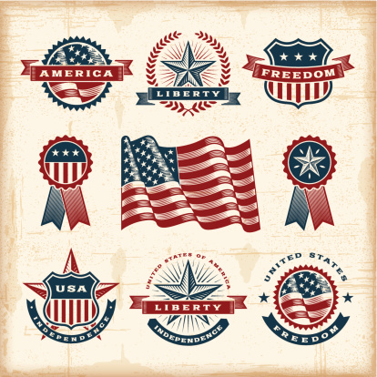 A set of fully editable vintage American labels and badges in woodcut style. EPS10 vector illustration. Includes high resolution JPG.