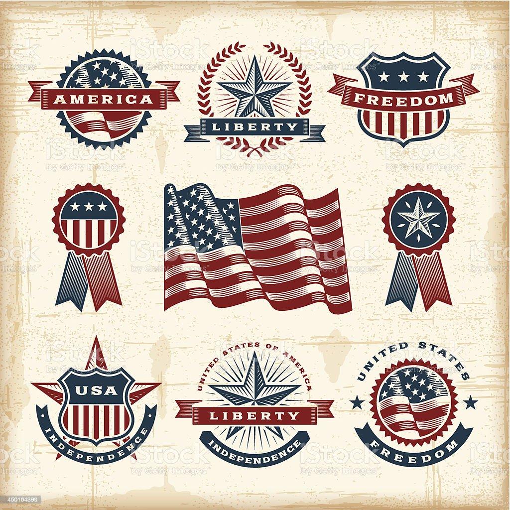 Vintage American labels set vector art illustration