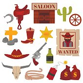 Vintage American old western designs sign and graphics cowboy vector