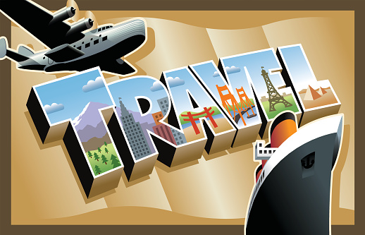 A postcard done in a popular style of the 1930s and 40s in the United States.  The art represents modes of travel and worldwide destinations.