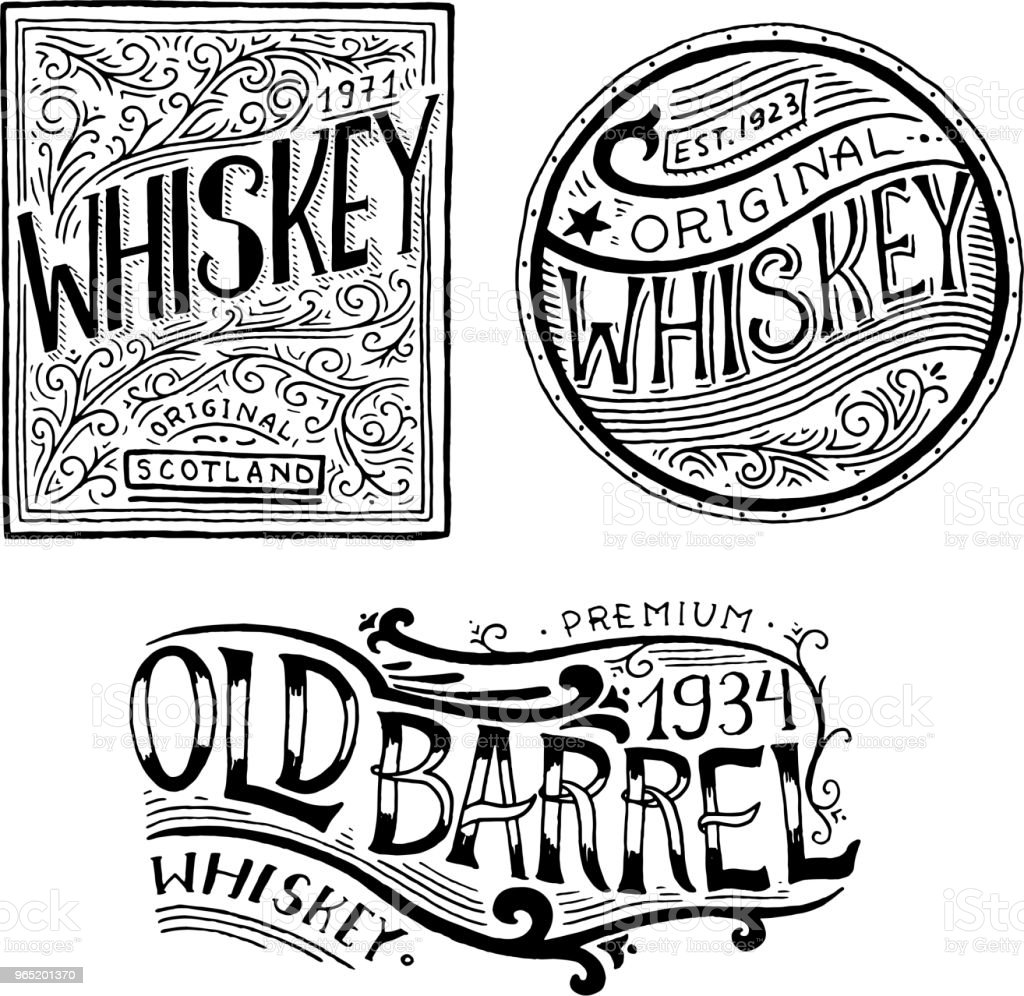 Vintage American whiskey badge. Alcoholic Label with calligraphic elements. Hand drawn engraved sketch lettering for t-shirt. Classic frame for bottle poster banner. Glass with strong drink vintage american whiskey badge alcoholic label with calligraphic elements hand drawn engraved sketch lettering for tshirt classic frame for bottle poster banner glass with strong drink - stockowe grafiki wektorowe i więcej obrazów antyczny royalty-free