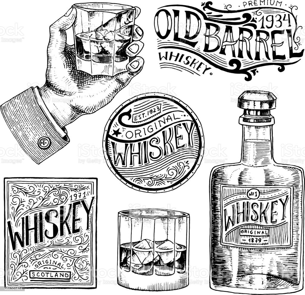 Vintage American whiskey badge. Alcoholic Label with calligraphic elements. Classic frame for poster banner. Glass with strong drink. Cheers toast. Hand drawn engraved sketch lettering for t-shirt royalty-free vintage american whiskey badge alcoholic label with calligraphic elements classic frame for poster banner glass with strong drink cheers toast hand drawn engraved sketch lettering for tshirt stock vector art & more images of antique