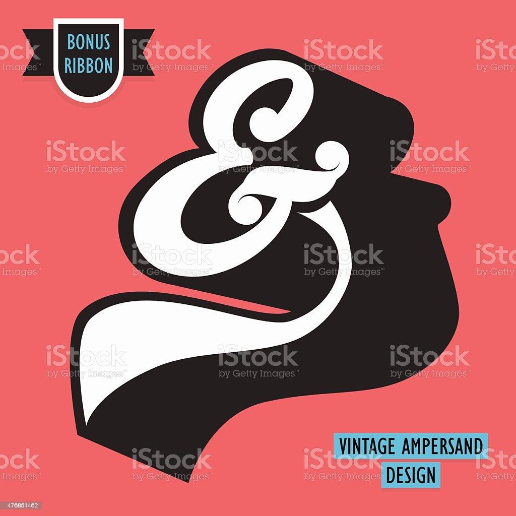 Vintage Ampersand symbol with retro effect vector art illustration