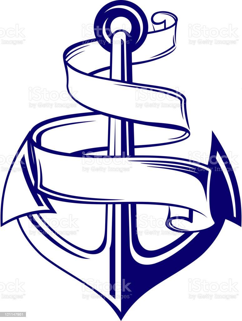Vintage anchor vector art illustration